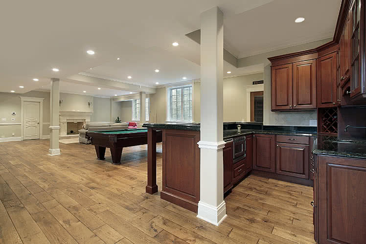 Photo showcasing a basement remodel in Danbury, Connecticut with a link to read more.