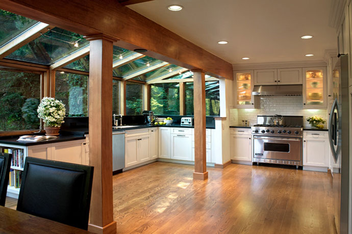 Photo showcasing a kitchen extension in Greenwich, Connecticut.